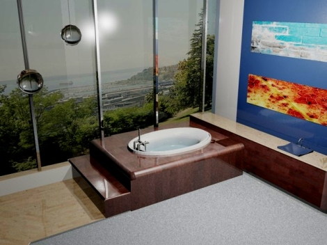 AutoCAD 3D rendering of a medicinal bath treatment room overlooking the Puget Sound.
