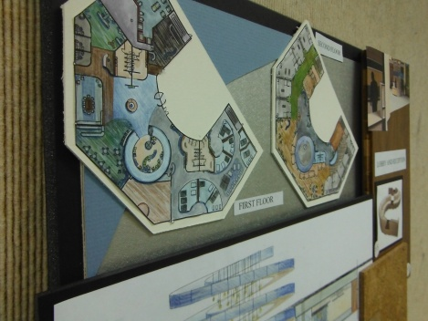 Detail of the rendered floor plans as seen on the final presentation boards.