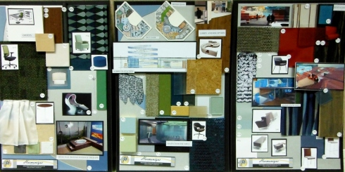 For my presentation I had three large scale material boards. Here they are all next to one another.