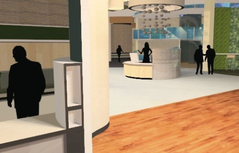 View from the office entrance into the main lobby and reception atrium.