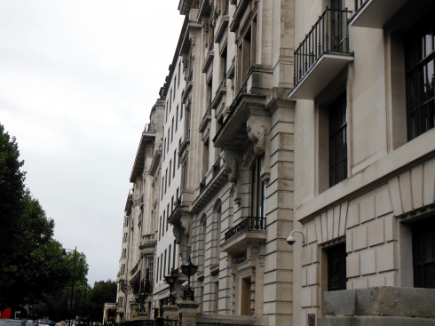 Houses along the Regents Street Boulevard, designed by Nash, facades vary from intricate to plain.