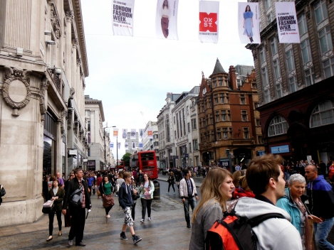 Oxford Circus is an internationally known shopping area. It is always packed with people, always noisy, and very, very fashionable.