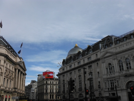 Piccadilly Circus: Public area in the West End of London.