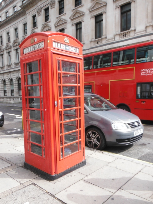 This is an obligatory picture of a red telephone booth. I even got lucky with the double decker bus in the background!