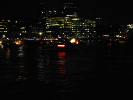 """Performers"" (boats) on the river Thames."