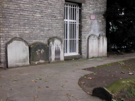 Yes, those are gravestones along the wall of a building.